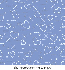 Cute seamless pattern with hearts. Template for design, fabric, print. Valentine's day.