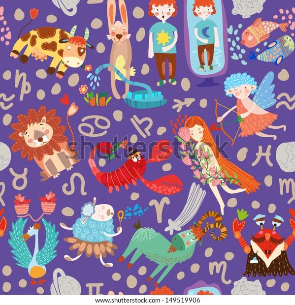 Cute seamless pattern with horoscope.Aries, taurus, gemini,cancer,leo,virgo,libra,scorpio,sagittarius, capricorn, aquarius, pisces