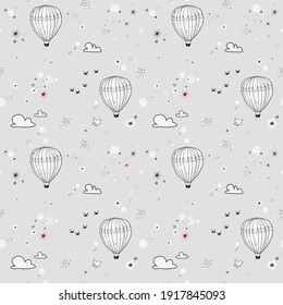 Cute seamless pattern with hot air balloon in sky, Gray gentle childish background. Perfect for kids fabric bedding, wallpaper, wrapping paper, textile, t-shirt print. Hand drawn vector illustration.