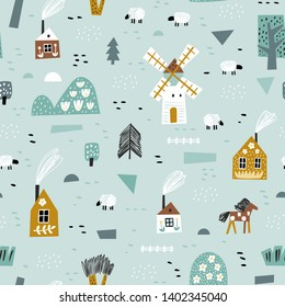 Cute seamless pattern with house, trees, horses, mills and floral. Europe nature landscape concept. Perfect for kids fabric, textile, nursery wallpaper. Seamless green background.