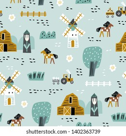 Cute seamless pattern with house, trees, horses, mills and floral. Perfect for kids fabric, textile, nursery wallpaper. Seamless landscape. Europe nature landscape concept.