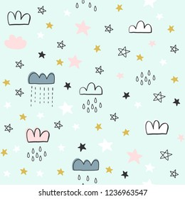 Cute seamless pattern for kids, baby apparel, fabric, textile, wallpaper, bedding, swaddles with stars, clouds, hearts, moon
