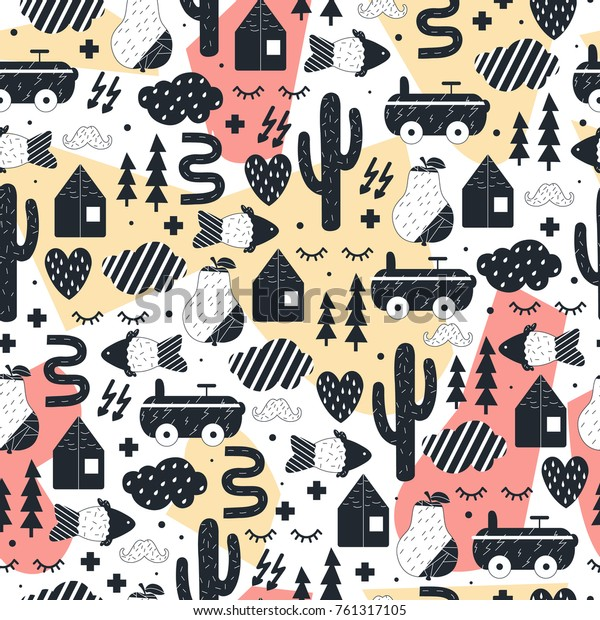Cute Seamless Pattern Kids Room Design Stock Vector Royalty Free 761317105
