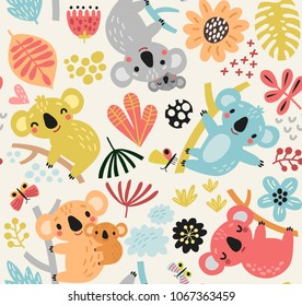 Cute seamless pattern with koala