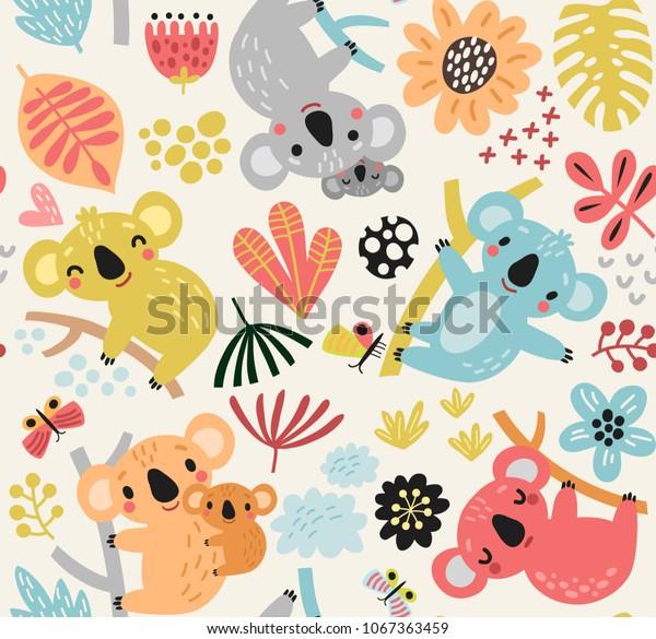 Cute seamless pattern with koala