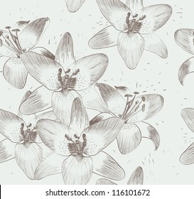 cute seamless pattern  with lilies. Hand-drawn illustration.