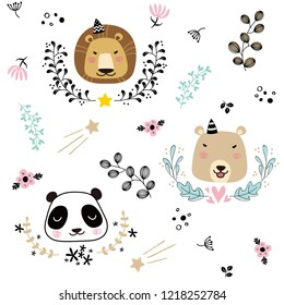 Cute seamless pattern with lion, bear, panda, leaves, flowers and star in Scandinavian style. Vector illustration for fabric, wrapping, textile, wallpaper,  interior, decoration.