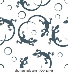 Cute seamless pattern with lizards and circles. Design for poster or print.