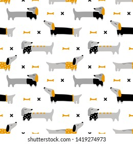 Cute seamless pattern with long dogs dachshunds. Vector baby background in scandinavian style. On white background. Suitable for printing on wrapping paper, textiles, fabrics, clothing, wallpaper.