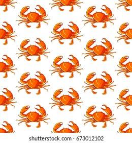 Cute seamless pattern made of pretty orange crabs.