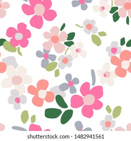 Cute seamless pattern with meadow flowers. Floral background for design and decoration of textiles, wallpapers