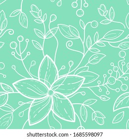 Cute seamless pattern with mint green and white 5 petal flowers, leafs, burgeons, berries. Vector line art for  fashion, textile, greeting cards, gift wrapping paper, scrapbooking with floral tune.