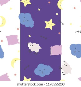 Cute seamless pattern with moon (crescent) and stars, pillow, sheep and clouds on white and purple background. For textile, fabric, linen, little girls, boys and babies clothes and pajamas.