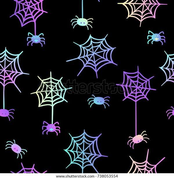 Cute Seamless Pattern On Black Vector Stock Vector Royalty Free