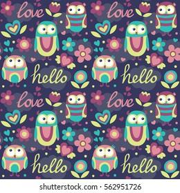 Cute seamless pattern owl flower cloud love hello heart postcard fly wings