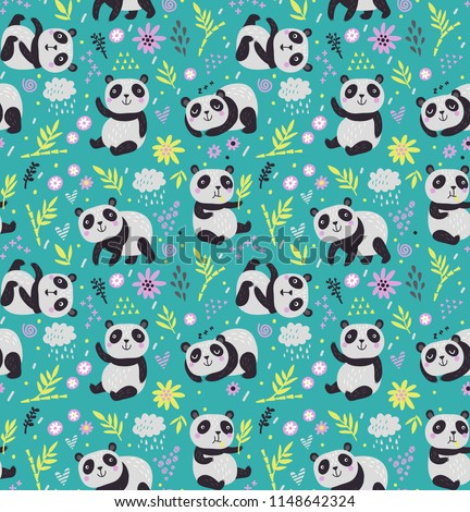 Cute seamless pattern with pandas