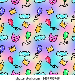 Cute seamless pattern with patch badges of crown, ice cream, baloons, cat and cloud. Pixel art. Cartoon 80s-90s comic style.
