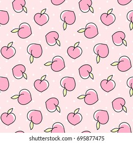 Cute seamless pattern with peaches on a pink background with dots. It can be used for packaging, wrapping paper, textile and etc.