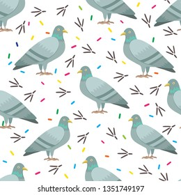 Cute seamless pattern with pigeons.