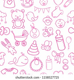 Cute Seamless Pattern Pink Doodle Toodler Baby Toy on Light Background. Pattern suitable for posters, postcards, fabric or wrapping paper.