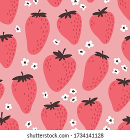 Cute seamless pattern with pink strawberries. Natural summer print with berry, fresh fruits and flowers in hand drawn style. Colorful vector strawberry background.