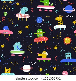 Cute seamless pattern with planet and funny characters astronauts. Vector illustration for children. Trendy kids vector background. Dark background,