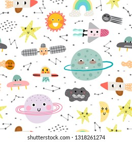 Cute seamless pattern with planet, star and rocket. Vector illustration for children. Trendy kids vector background.
