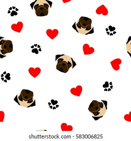 cute seamless pattern with pug dog, paw print and red heart, transparent background