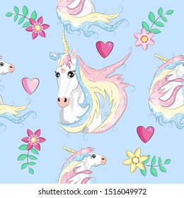 Cute seamless pattern with rainbow unicorns in the clouds.