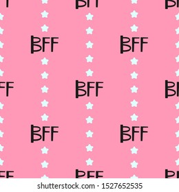 Cute seamless pattern. Repeated abbreviations BFF and stars. Simple vector illustration.