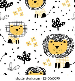 Cute seamless pattern in scandinavian style with cute lion. Perfect for kids apparel, fabric, textile, nursery decoration, wrapping paper. Trendy scandinavian vector pattern.