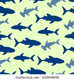 Cute seamless pattern with shark silhouette. Vector illustration.