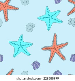 Cute seamless pattern with shells and starfishes