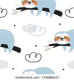 Cute Seamless pattern with Sloth in scandinavian style. Monochrome vector print for baby  with sloth.