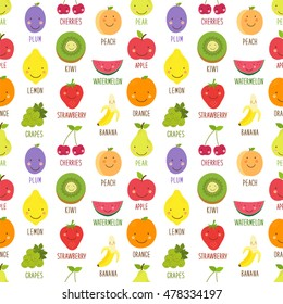 Cute seamless pattern with smiling cartoon characters of fruits, can be used for kitchen textile, wrapping paper etc
