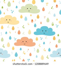 Cute seamless pattern with smiling clouds colorful rainy drios Funny kids background Vector illustration Autumn or spring decorative fabric design Girls boys wallapaper Happy smile clouds Print banner