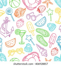 Cute seamless pattern with summer symbols. Shells, ice cream, strawberries. hand-drawn illustration