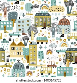 Cute seamless pattern with buildings? trees and transport.  Seamless city landscape. Scandinavian style. Good for kids fabric, textile, nursery wallpaper.
