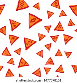 Cute Seamless Pattern with Triangle figures. Perfect for your design, textile, pattern fills, box, posters, cards, web page background etc. Pattern under the mask. Vector.