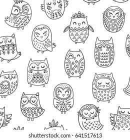 Cute seamless pattern with tribal owls. Vector contour image. Coloring book page