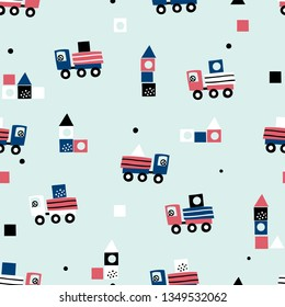 Cute seamless pattern with truck and children's designer. Baby seamless pattern. Creative vector childish background for fabric, textile, nursery wallpaper. Scandinavian style.
