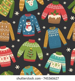 Cute seamless pattern with ugly Christmas sweaters. Vector repeating background.