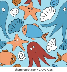 Cute seamless pattern with underwater live: octopus, starfish, fish. Vector tropical background