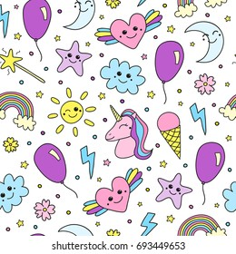Cute seamless pattern with unicorn, rainbow, balloon, weather smiley doodle items.