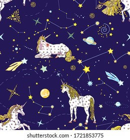 Cute seamless pattern with unicorns and cosmic elements: constellations, zodiacs, planets, comets on the blue background. Vector endless texture for print, design and decoration