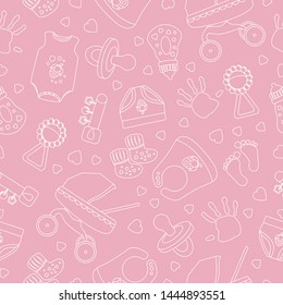 Cute seamless pattern. Vector pink background for baby and kids design.