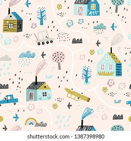 Cute seamless pattern with village and forest. Europe nature landscape concept. Perfect for kids fabric, textile, nursery wallpaper. Seamless landscape.