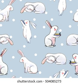 cute seamless pattern with watercolor rabbits. Easter bunnies and dots