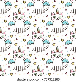 Cute seamless pattern with white cat in a unicorn costume with wings and rainbow horn. It can be used for packaging, wrapping paper, textile and etc.