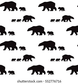 Cute seamless pattern with winter polar bear. Mother and her child. Cute children pattern. Perfect for background paper or textiles.